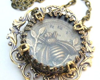 Bee  Under Glass  ... Steampunk Victorian Filigree Bee   One of a Kind