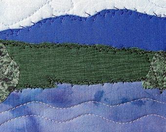 Handmade Quilted Postcard, Fabric Postcard, Lake Landscape, Fiber Art Landscape, Art Greeting Cards,