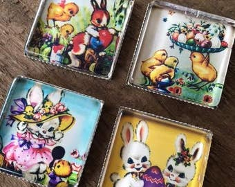 4 Easter Magnets Gift Bunny Chicks Vintage Square Refrigerator Art Decor Bunnies Rabbits Nostalgic Eggs