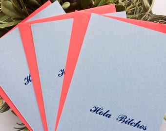 Hola Bitches Greeting Card Funny Greeting Card Funny Card Card Pack Card Humorous Card Humorous Greeting Card Letterpress Greeting Card Card