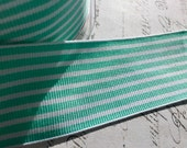 1.5  inch wide Twill Aqua and White  Woven Striped Ribbon Trim