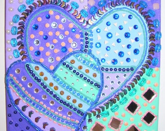 Heart Canvas Mosaic blue purple pink beaded painting 2 hearts