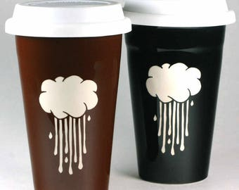 SALE - Rain Cloud Travel Mug - rainy day lidded coffee cup