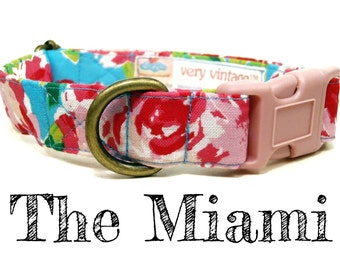 "Vintage Inspired Collar - Floral Roses Dog Collar - Girl Dog Collar - Shabby Chic Dog Collar - Antique Brass Hardware - ""The Miami"""