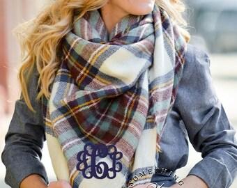 Monogrammed oversized square plaid blanket scarf - Misty Moor Plaid - Ivory, Brown, Blue - large scarves, warm scarves, Oversized Scarf
