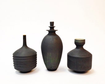 Made To Order- 3 med/large slate stoneware modern architectural pottery vases glazed in slate grey matte sarapaloma  bud vase mid century