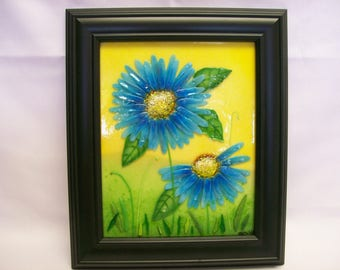 Fused Glass Painting (Daisy In Blue)