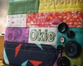 Okie - WORD Pouch - Hand Embroidered - Patchwork
