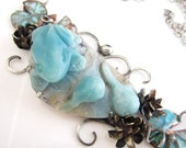 VDAY SALE The Pond - Carved Amazonite Frog and Tadpoles with Copper and Brass Water Lillies  in Sterling Silver