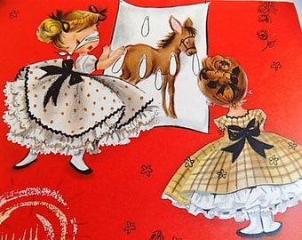 Vintage Hallmark Gift Wrap Scrapbooking Decopouge Altered Art Collage Girls Birthday Party