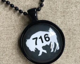 Gray 716 Buffalo NY Necklace - Buffalo Art - Buffalo Jewelry - Buffalo NY - Buffalove - Buffalo Gift  - Buffalo Print