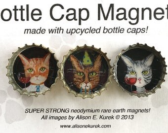 Fun Magnets - Cat Lover Gift - Animals in Clothes - Funny Tiger Cat Magnets - Cats with Wine  - Cat Art - Bottle Cap Magnets