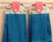 Hanging Cloth Top Kitchen Hand Towels - Party CUPCAKE Print - Turquoise Towels - Set of 2