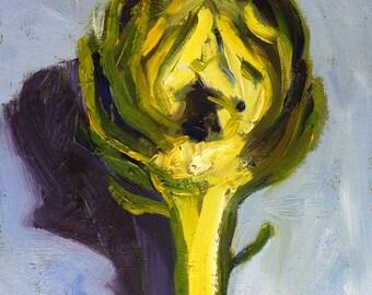 Small Oil Painting, Original 5x7, Artichoke Still Life, Green Blue, Food Art, Kitchen Wall Decor, Dining Room, Minimalist, Sliced Food