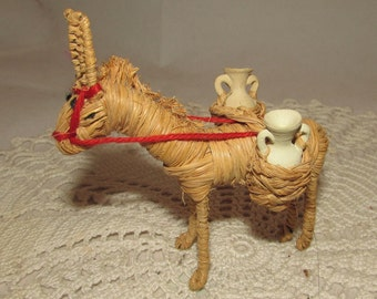 Vintage Handmade Straw Donkey Burro Jackass with clay Jugs, souvenir, folk art, Greece or Mexico