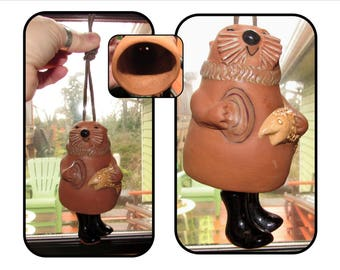 Vintage Red Clay Pottery Otter Windchime Bell Handmade by Cabin Crafts of Alaska, 1983, home décor