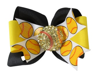 Softball Glitter Bow with Bling and Matching Team Color Ribbons