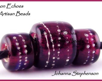 BIG HOLE BEADS Plum over Silver Canyon Echoes Lampwork Beads
