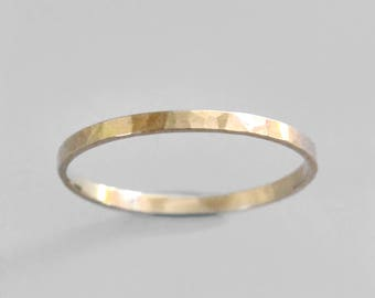 Gold Stacking Ring, 14K Gold Ring, Solid Gold Band, Hammered Gold Ring, Solid 14K Gold Ring, Gold Wedding Ring, Gold Knuckle Ring, Gabrielle