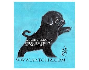 Black PuG Art. Black Pug Illustration. Art. Print. Seafoam. Pug Portrait. Pugnation. Black Pug Puppy.  Signed by the Artist - Go East