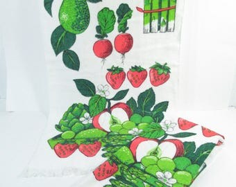 Vintage kitchen towels, fruit towels, veggie towels, green and red towels, fruity, strawberry towel, apple towels, kitsch kitchen decor