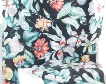 Vintage full size sheets, full bedding, double sheets, black tropical print, black sheets, black floral botanical print