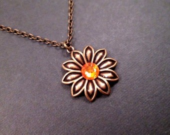 Flower Necklace, Orange Glass Rhinestone and Brass Chain Necklace, Pendant Necklace, FREE Shipping U.S.