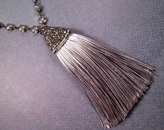 Silver Tassel Necklace, Extra Long Glass Beaded, Pave Rhinestone Cap, Gunmetal Chain Necklace, FREE Shipping U.S.