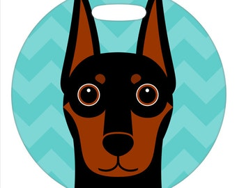 Luggage Tag - Doberman Pinscher - Black and Brown - Round Plastic Bag Tag