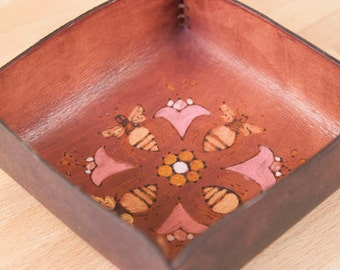 Valet Tray - Leather Catchall Tray with Bees and Flowers - Great tray for bedside, nightstand or jewelry -  Meadow pattern - pink + mahogany
