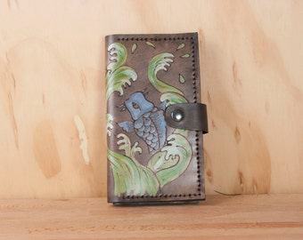 iPhone 6 Wallet -  Leather iPhone 6 Plus Case in the Koi Swim pattern with Koi fish in antique black - iPhone 5 6 6+ 7  7+ or SE