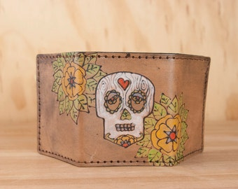 Leather Trifold Wallet - Mens or Womens Wallet with Sugar Skull and Flowers - Walden pattern in antique black - Third Anniversary Gift