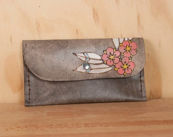 Leather Pouch - iPhone Case - Clutch - Dakota pattern with flowers and leaves in yellow, pink, white, sage and antique black