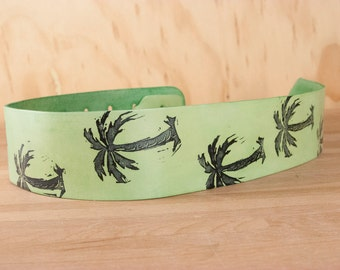Leather Ukulele Strap - Handmade in the Palm Tree Pattern in Green and Black - Works with guitar, mandolin and ukulele