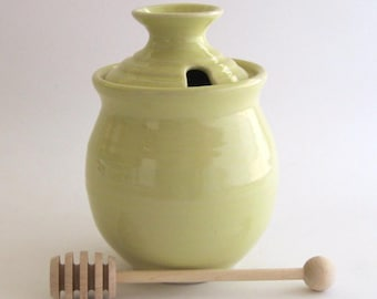 Honey Pot with Dipper - Pale Yellow Glaze