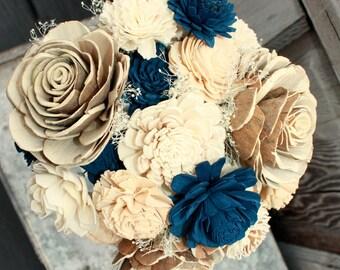 Sola flower bouquet, brides wedding bouquet, champagne and navy blue wedding flowers, navy blue bouquet, eco flowers, alternative keepsake