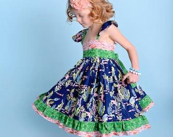 Girls Mermaid Party Dress -  Girls Dress - Girls Party Dress - Girls Beach Dress - Birthday Dress - Girls Mermaid Dress - Mermaid Dress