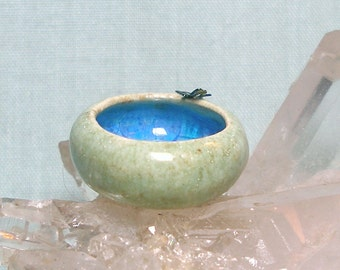 Dollhouse Miniature Console Bowl with Dragonfly and Melted Glass in One Inch Scale for Dolls House