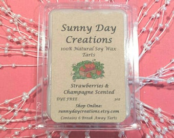 Strawberries & Champagne Scented 100% Natural Soy Wax Break Away Tarts 3 oz