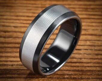 Men's Wedding Band Comfort Fit Interior Black Zirconium Bi-Color Beveled Ring