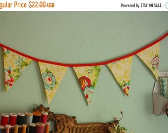 HALF OFF Floral Fabric Bunting, Flag Prop Decoration in Yellow and Red, Prop, Pennants.  Ready To Ship.