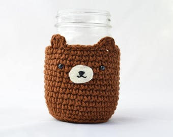 Cute Brown Bear Mason Jar Cozy - Jar Sleeve - Mason Jar Cover - Crochet Bear - Adorable Drink Cozy
