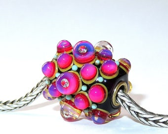 Luccicare Lampwork Bead - Drops Diamonds - FOCAL -  Lined with Brass