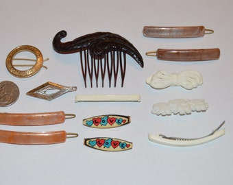 13 Little girls 50's Hair Clips lot ,Plastic metal backs Barrettes Vintage ,Love,Bow,Plastic Feather Comb,Elephant Family,