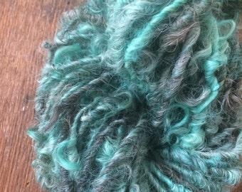Teal and grey 40 yards  Iowa Lincoln wool lockspun chunky textured felting knitting weaving handspun art yarn bulky lockspun aqua