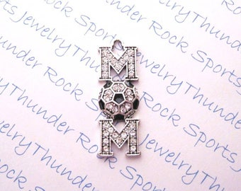 SOCCER MOM CHARM, Antique Silver, black, clear crystals, Pendants, Sports jewelry, balls