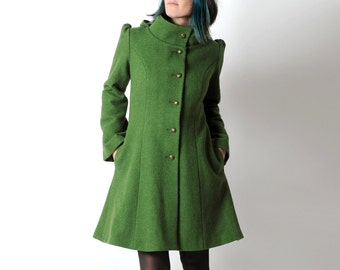 Green wool coat, Green womens coat with pixie hood, Moss green hooded winter coat, virgin wool coat, sz UK 12 or custom