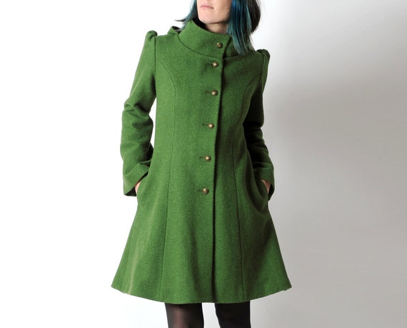 Green wool coat Green womens coat with pixie hood Moss green