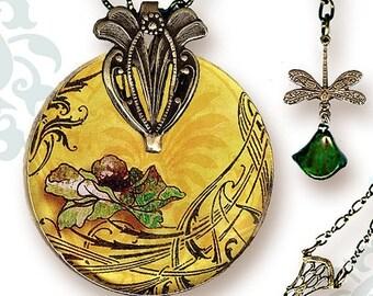 Sage Poppy Necklace - Voyageur - Reversible Glass Art Necklace - Sage and Cream - Nouveau Jardin Collection