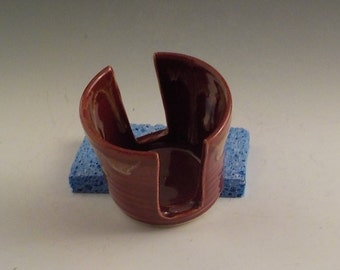 Ceramic Sponge Holder - Stoneware Cup Holder - Sponge Drying Bowl - Kitchen Helper - Ready to Ship - Deep Brick Red and Caramel Drip H449